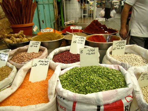 Spices and beans from open air market