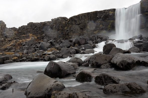 Waterfall at Þingvellir National Park in Iceland