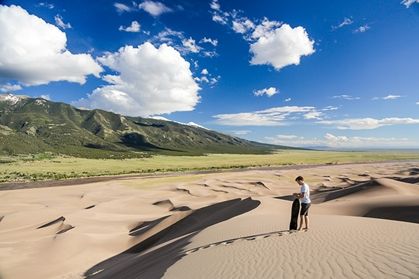 Sandboarding and Sand Sledding at Great Sand Dunes National Park in Colorado