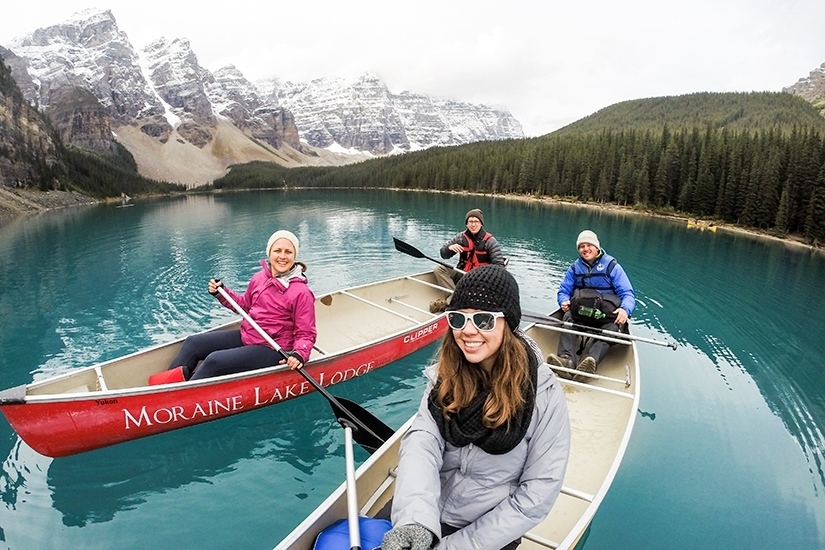 Canoeing at Moraine Lake in Banff National Park, Alberta, Canada