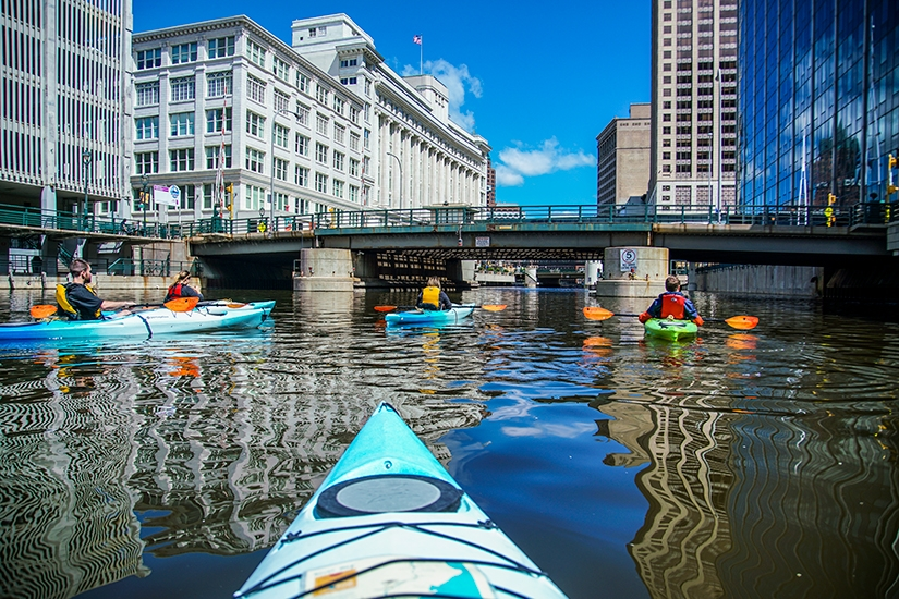 Kayaking Milwaukee River, Milwaukee Kayak Company, WIsconsin