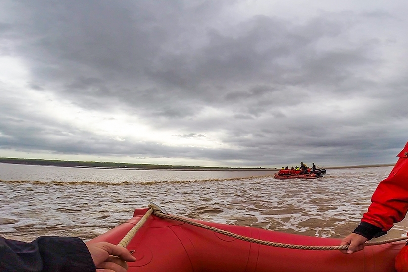 Tidal Bore Rafting in the Shubenacadie River, Bay of Fundy, Nova Scotia, Canada