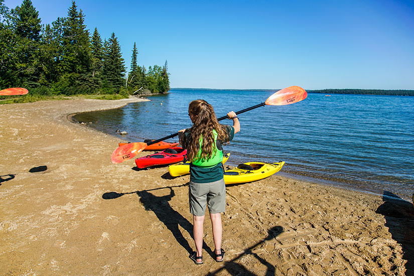 Kayaking Clear Lake Riding Mountain National Park, Manitoba, Canada