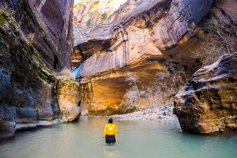 Hiking the Narrows in the Winter, Zion National Park, Utah