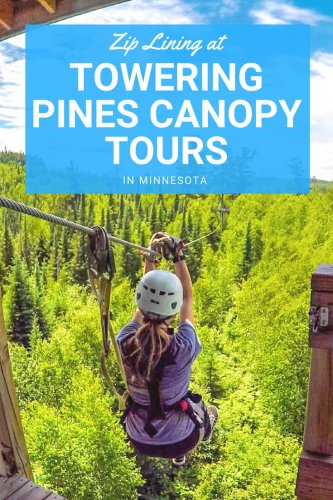 Zip Lining at Towering Pines Canopy Tour in Northern Minnesota